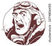 stock illustration. retro pilot. | Shutterstock .eps vector #1074806450