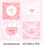 set of happy mother's day cards.... | Shutterstock .eps vector #1074811793