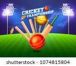 close view of a cricket wickets ...   Shutterstock .eps vector #1074815804