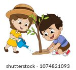 kid planting a tree.vector and... | Shutterstock .eps vector #1074821093