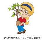 kid planting a tree.vector and... | Shutterstock .eps vector #1074821096