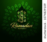 ramadan mubarak typographic... | Shutterstock .eps vector #1074829109