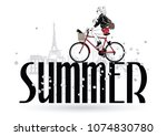 summer. fashion girls in sketch ... | Shutterstock .eps vector #1074830780