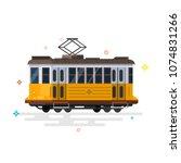 vintage tram. flat design.... | Shutterstock .eps vector #1074831266