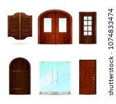 entrance doors set of realistic ... | Shutterstock .eps vector #1074833474