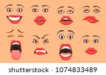 women cute mouth lips eyes... | Shutterstock .eps vector #1074833489