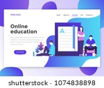 landing page template of online ... | Shutterstock .eps vector #1074838898