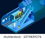 empty underground metro station ...   Shutterstock .eps vector #1074839276