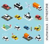 autonomous vehicle isometric... | Shutterstock .eps vector #1074839348