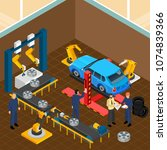 industrial machines isometric... | Shutterstock .eps vector #1074839366