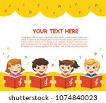 choir girls and boys singing a... | Shutterstock .eps vector #1074840023
