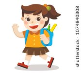 a little girl going to school... | Shutterstock .eps vector #1074840308