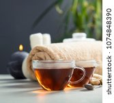 tea set and spa settings on... | Shutterstock . vector #1074848390