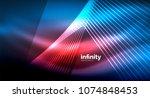 shiny straight lines on dark... | Shutterstock .eps vector #1074848453