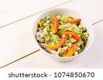 saut ed bitter melon in egg | Shutterstock . vector #1074850670