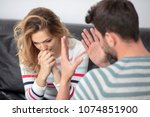 attractive angry couple... | Shutterstock . vector #1074851900