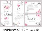 set of wedding invitation card... | Shutterstock .eps vector #1074862940