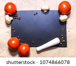 tomatoes and champignons on... | Shutterstock . vector #1074866078