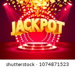 jackpot casino podium golden... | Shutterstock .eps vector #1074871523