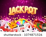 jackpot casino big win collage... | Shutterstock .eps vector #1074871526