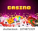casino dice banner signboard on ... | Shutterstock .eps vector #1074871529