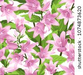 seamless pattern with campanula ... | Shutterstock .eps vector #1074873620