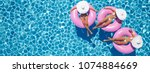 3d rendering. women swimming on ... | Shutterstock . vector #1074884669
