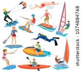 water sport vector people in... | Shutterstock .eps vector #1074884768