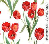 Tulips Red Watercolor Hand...