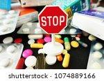 stop drugs or pills addiction ...   Shutterstock . vector #1074889166