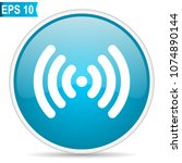 wifi blue glossy round vector... | Shutterstock .eps vector #1074890144