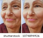 old woman face wrinkles before...   Shutterstock . vector #1074894926
