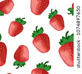 strawberry seamless pattern | Shutterstock .eps vector #1074897650