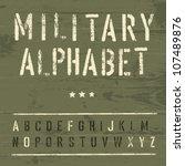 military vintage alphabet.... | Shutterstock .eps vector #107489876
