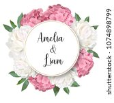 vector floral banner with pink... | Shutterstock .eps vector #1074898799