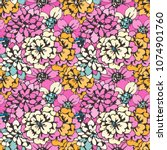 seamless pattern with flowers.... | Shutterstock .eps vector #1074901760