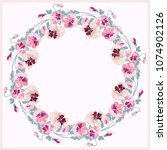 floral round frame from cute... | Shutterstock .eps vector #1074902126