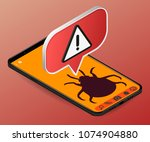 isometric red alert warning of... | Shutterstock .eps vector #1074904880