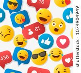 emoji seamless pattern on a... | Shutterstock .eps vector #1074904949
