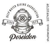 scuba diving club label. diving ... | Shutterstock .eps vector #1074910739