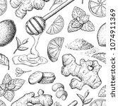 honey  ginger  lemon and mint... | Shutterstock .eps vector #1074911369