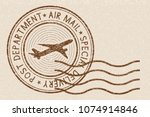brown postmark on beige... | Shutterstock .eps vector #1074914846