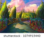 the green garden with fantastic ... | Shutterstock . vector #1074915440
