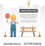 cartoon builder holding a stop... | Shutterstock .eps vector #1074924836