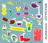 stickers summer and travel... | Shutterstock .eps vector #1074925568