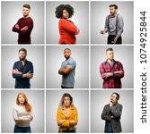 group of mixed people  women... | Shutterstock . vector #1074925844