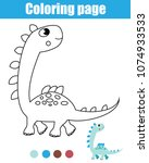 coloring page with dinosaur.... | Shutterstock .eps vector #1074933533