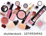 makeup brush and decorative... | Shutterstock . vector #1074934943