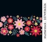 floral embroidery. horizontal... | Shutterstock .eps vector #1074936326