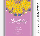 happy birthday typographic... | Shutterstock .eps vector #1074937250